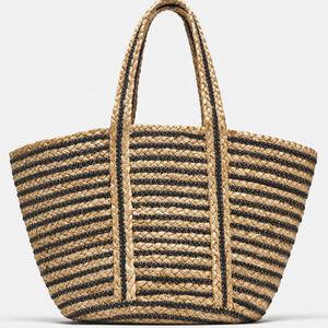 NWT Zara Medium Woven Jute Striped Bag